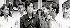 1973 Thai popular uprising - Under the leadership of student activist Thirayuth Boonmee (in black), the National Student Centre of Thailand protested for a revision of the constitution. Thirayuth was arrested, which led to further protests.