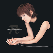 An image of Ayumi Hamasaki sitting down in a black backdrop, merging with her black dress. She features dark-red hair in a crop hairstyle, with a long piece of digitally-altered string on her hand with the song and artist title on the left.