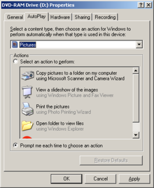 AutoPlay - The AutoPlay tab on a DVD drive properties dialog