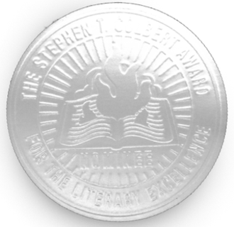 """I Am America (And So Can You!) - A sample image of the sticker found on the book, which reads """"The Stephen T. Colbert Award for the Literary Excellence""""."""