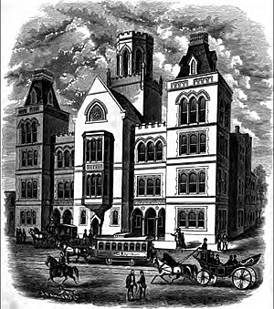 Baltimore City College - Rendering of the Baltimore City College first building (of two) on site at North Howard Street alongside West Centre Street. Completed in 1875, it was designed by Baltimore City Hall municipal architect, George A. Frederick, collapsed 1892 during construction of the Howard Street Tunnel by the Baltimore and Ohio Railroad.
