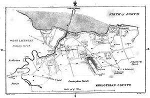 Cramond - A map showing the parish of Cramond in 1794.