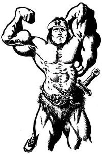 Thrud the Barbarian - Croneman the Cimpletan posing in the Thrud the Destroyer story. Croneman is depicted as resembling Arnold Schwarzenegger, a common satirical target in the Thrud strips and comics