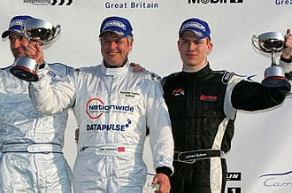 Redline Racing - Tim Harvey (centre) and James Sutton (right) on the Podium at Brands Hatch, April 2007