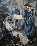 Diego Rivera, 1914, Two Women (Dos Mujeres, portrait of Angelina Beloff and Maria Dolores Bastian ), oil on canvas, 197.5 x 161.3 cm, The Arkansas Arts Center, Little Rock, Arkansas.jpg
