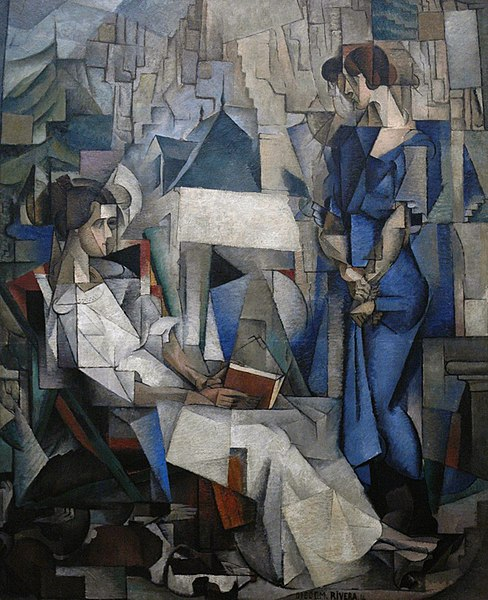 File:Diego Rivera, 1914, Two Women (Dos Mujeres, portrait of Angelina Beloff and Maria Dolores Bastian ), oil on canvas, 197.5 x 161.3 cm, The Arkansas Arts Center, Little Rock, Arkansas.jpg
