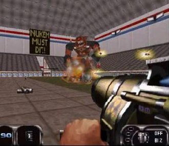 Duke Nukem 3D - Nintendo 64 port. Note its level design changes and that some sprites were replaced with polygonal models.