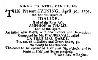 La fille mal gardée -  Announcement for the premiere of La Fille mal gardée at the Pantheon, London, 1791.