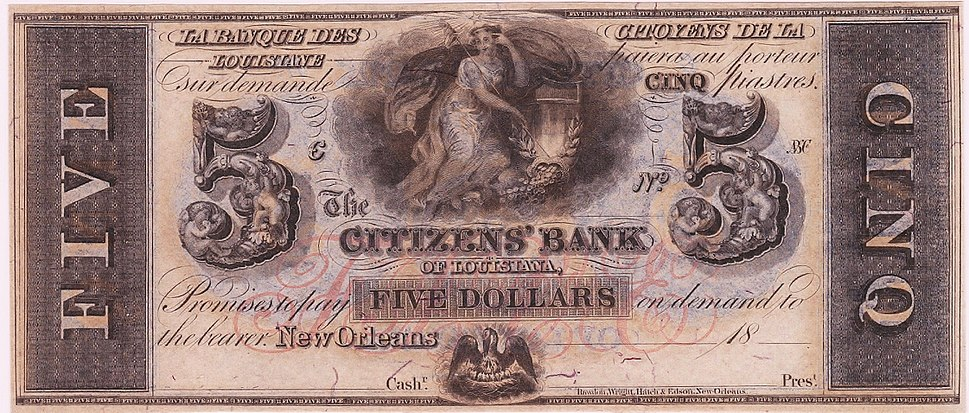 Five dollar Banknote of Citizens Bank of Louisiana