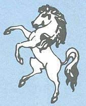 An illustration of a white horse rearing up on its hind legs.