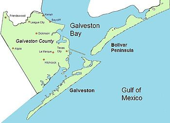 A map of the area at the mouth of Galveston Bay showing Galveston county which encompasses the island, the Bolivar Peninsula to the east, and a portion of the mainland to the west.