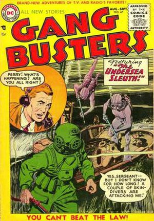 Gang Busters - John Prentice cover for DC Comics' Gang Busters 47 (August–September 1955)