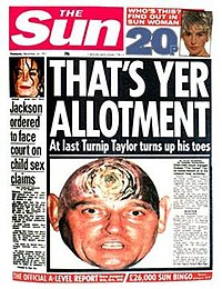 A newspaper front page featuring an England football manager with the top of his head replaced with the top of a turnip