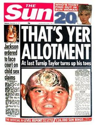 "Graham Taylor - The Sun headline on 24 November 1993 following Taylor's resignation as England manager. 18 months earlier he had been called a ""Turnip"" by the newspaper, after England's defeat to Sweden in Euro 1992"