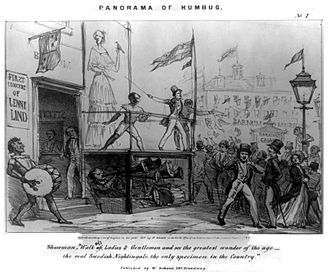 """Humbug - An 1850 cartoon of Jenny Lind outside P. T. Barnum's New American Museum, New York City, 1850, captioned as a """"Panorama of Humbug"""""""