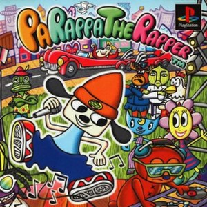 PaRappa the Rapper - Japanese cover art designed by Rodney Alan Greenblat