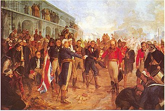 May Revolution - William Carr Beresford surrenders to Santiago de Liniers during the British invasions of the Río de la Plata.