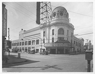 Mainstreet Theater - The Mainstreet Theater as it originally appeared, prior to several name changes and removal of the large sign suspended from the roof