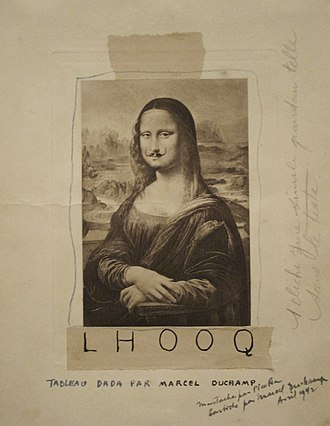 Readymades of Marcel Duchamp - Marcel Duchamp, 1919, L.H.O.O.Q. a parody of the Mona Lisa with a goatee and moustache.