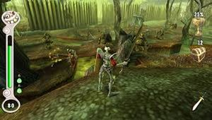 MediEvil: Resurrection - A screenshot of gameplay, showing the updated interface and re-mastered graphics