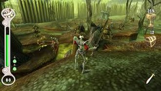 MediEvil: Resurrection - A screenshot of gameplay, showing the updated interface and remastered graphics