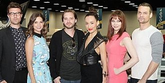 Nikita (TV series) - The cast of the final season of Nikita; from left to right: Noah Bean, Lyndsy Fonseca, Aaron Stanford, Maggie Q, Melinda Clarke, and Shane West.
