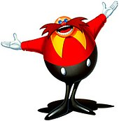 A bald cartoon character with an oval shaped red torso, mustache as wide as his shoulders, and long thin black pants greets the reader.