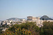 The Parthenon's position on the Acropolis allows it to dominate the city skyline of Athens.