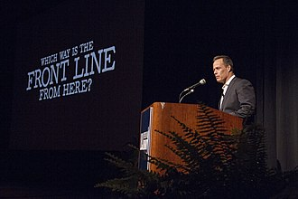 Sebastian Junger - Junger speaking at the LBJ Library, which screened Which Way is the Front Line From Here?