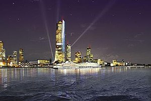 Shanghai Tower (Liverpool) - Artist's impression of Shanghai Tower dominating the Liverpool waterfront