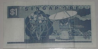 Singapore dollar - Singapore $1 note showing a picture of a satellite station on the reverse side