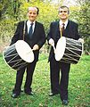 Tale Ognenovski, clarinetist and composer with his drum and his son Stevan Ognenovski, in Vodno Mountain, Skopje, Republic of Macedonia in 2000.jpg