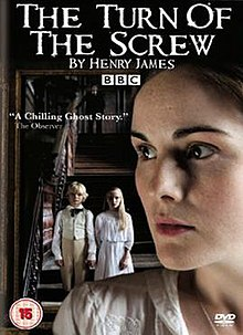 The Turn of the Screw DVD cover, showing a three-quarter portrait of a young woman, with two children side-by-side in the background