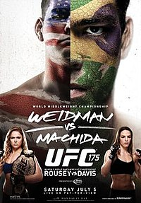 A poster or logo for UFC 175: Weidman vs. Machida.