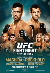 A poster or logo for UFC on Fox: Machida vs. Rockhold.