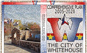 Whitehouse, Texas -  The front and back cover of the Whitehouse Vision 2020 Comprehensive Plan. The document was adopted by the City of Whitehouse in the spring of 2006.