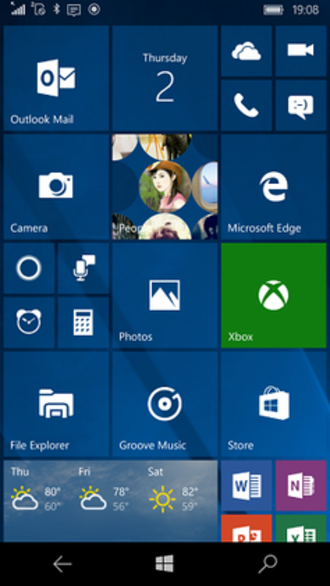 Windows 10 Mobile - Image: Windows 10 Mobile homescreen