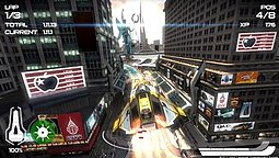 A screenshot of gameplay. The player's ship is airborne in the centre of the screen, and its surroundings display a futuristic adaption of New York City. The game's interface displays the lap and time, current position, number of experience points, and the speedometer.