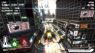 Wipeout 2048 - From left to right clockwise, the interface displays the lap and time, current position, number of experience points, speedometer, shield strength and current weapon.