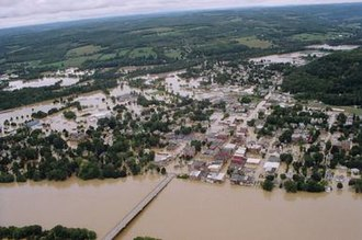 Tropical Storm Lee (2011) - Flooding in Owego the day after Tropical Storm Lee, with 95 percent of the village under water