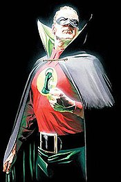 Alan Scott, the original Green Lantern. Promotional cover art for JSA # 77, by Alex Ross.