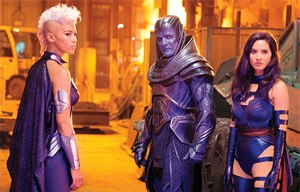Psylocke in other media - Olivia Munn (right) as Psylocke in X-Men: Apocalypse (2016). Also pictured are Alexandra Shipp as Storm (left) and Oscar Isaac as Apocalypse (center)