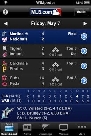MLB.com - A screenshot of the MLB.com At Bat 2010 iPhone App scoreboard page.