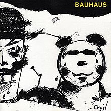"A black-and-white drawing of a panda, a joker-like figure and an alien creature hiding behind the shoulder of the joker. ""BAUHAUS"" is imprinted in the top-right corner in yellow text."