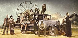 Carnivàle - From left to right – front row: Lodz, Lila, Libby, Caladonia and Alexandria, Apollonia, Sofie, Ben Hawkins, Jonesy, Iris, Brother Justin – back row: Dora Mae, Rita Sue, Stumpy, Ruthie, Gecko, Samson
