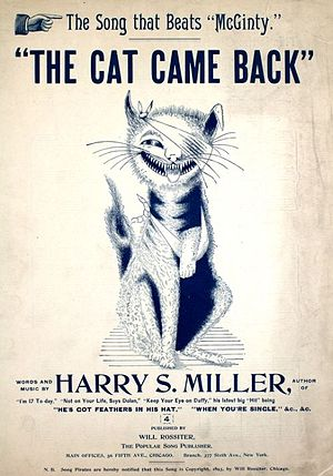 Harry S. Miller - Sheet music cover for The Cat Came Back (1893).