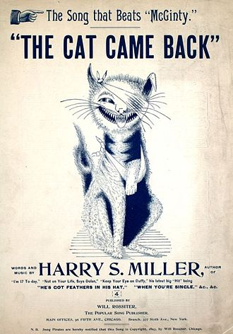 The Cat Came Back - Cover, sheet music, 1893