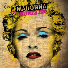 Madonna's face with her hair in curls. Her lips are painted bright red and she has cyan eye shadows. The photo is washed in yellow color and appears to be embossed on a written page.