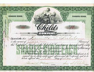 Childs Restaurants - Childs Company Stock Certificate – 1908