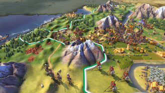 Civilization VI - City improvements such as military installations are now unstacked from the main city tile in Civilization VI. The game also uses an old-fashioned drawn map approach to illustrate tiles that have yet to be explored or are currently unobserved by the player.